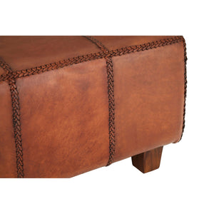 Inca Antique Brown Leather Bench