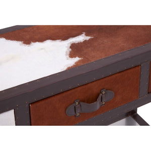 Kensington Townhouse Console Table Brown and White Cowhide