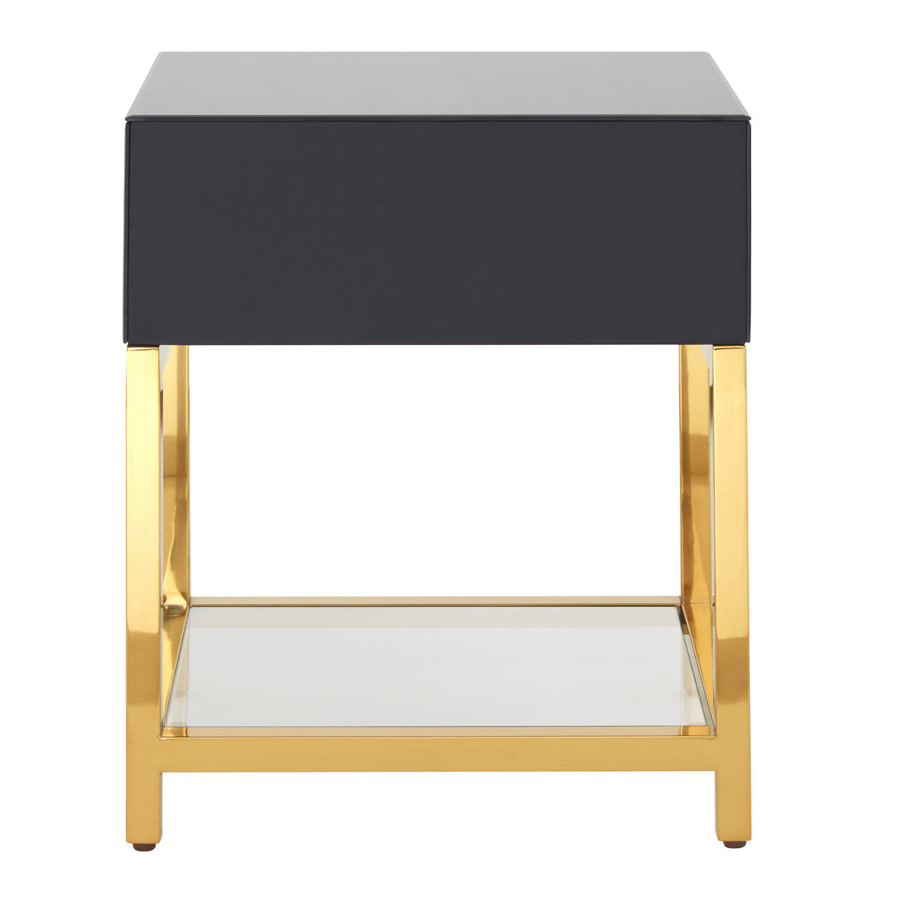 Kensington Townhouse Side Table Gloss Black and Gold