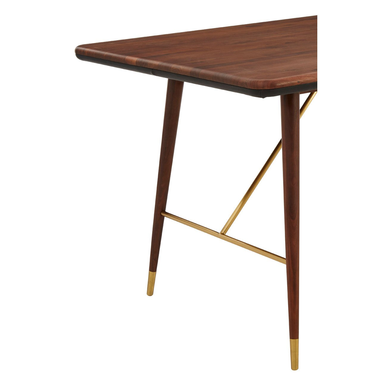 Kenso Walnut Wood and Brass Finish Dining Table
