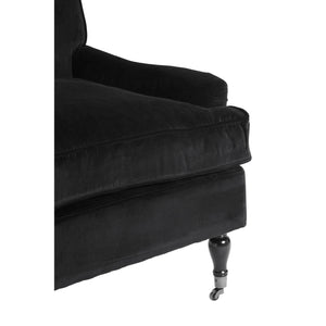 Large Black Plush Velvet Chair
