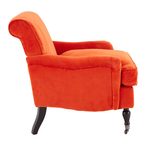 Large Orange Plush Velvet Chair