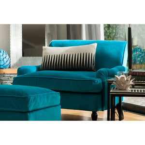 Large Teal Plush Velvet Chair