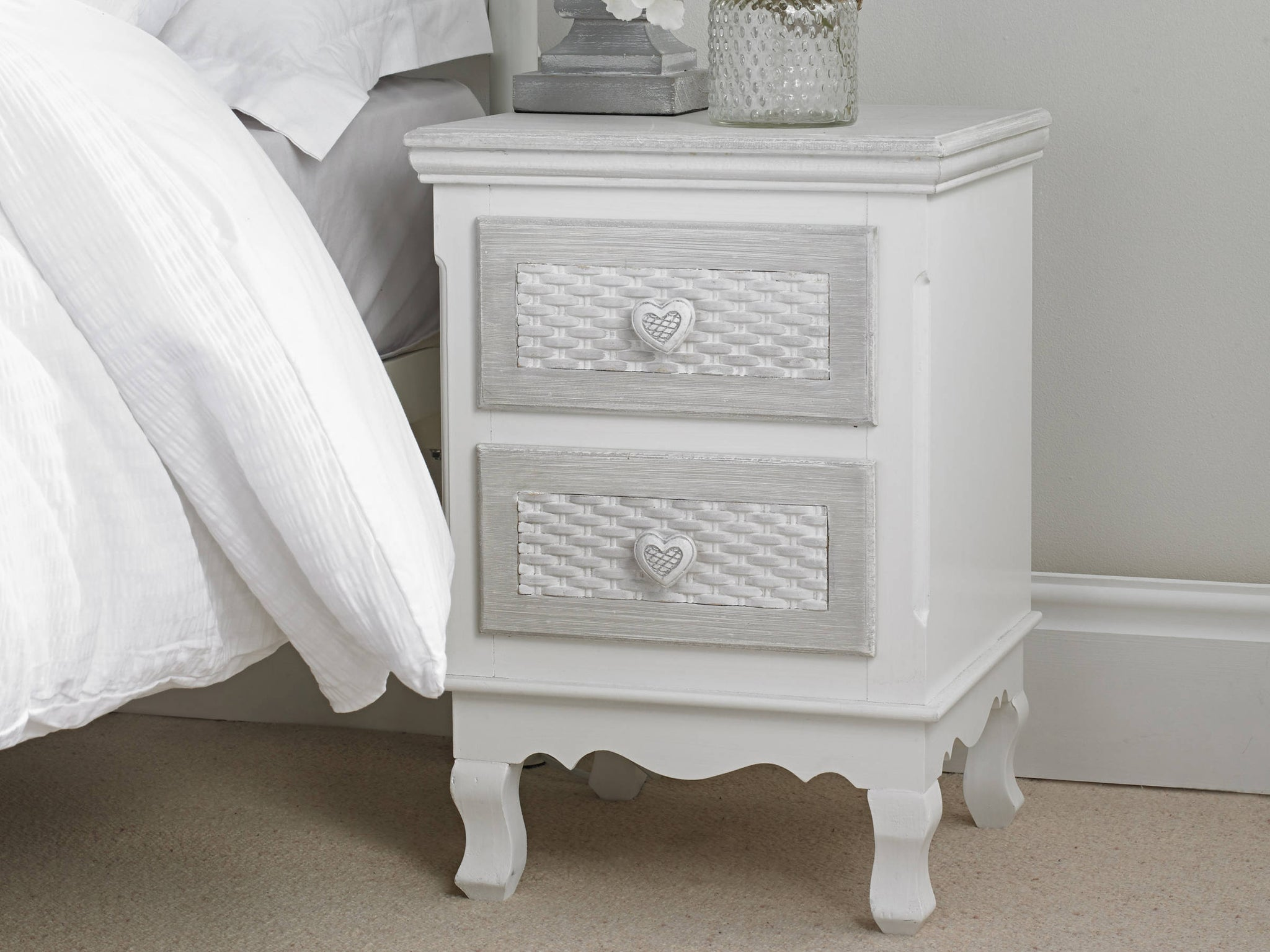 Lorient 2 Drawer Bedside Cabinet - Ezzo