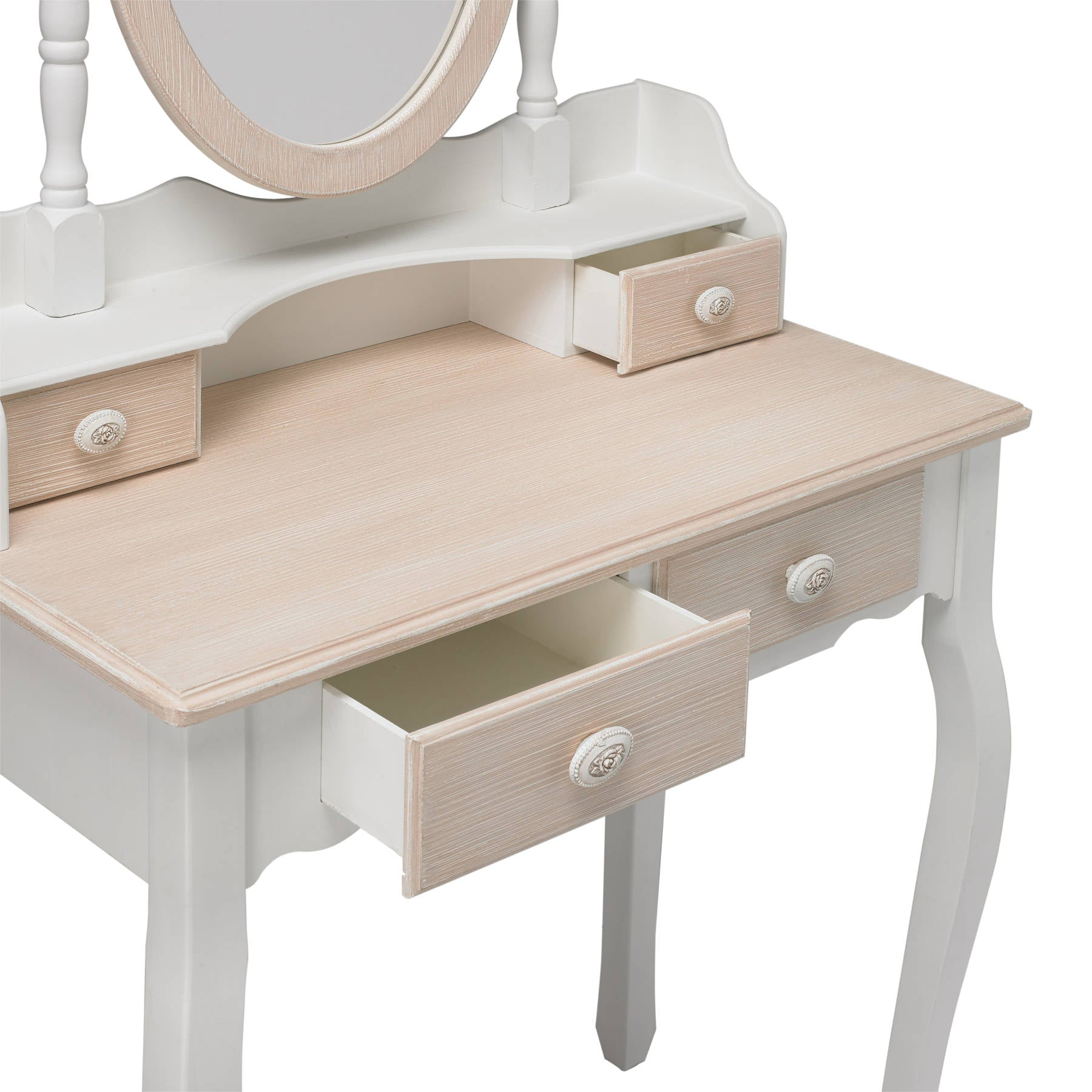 Lorient Dressing Table with Table Mirror and Stool - Ezzo