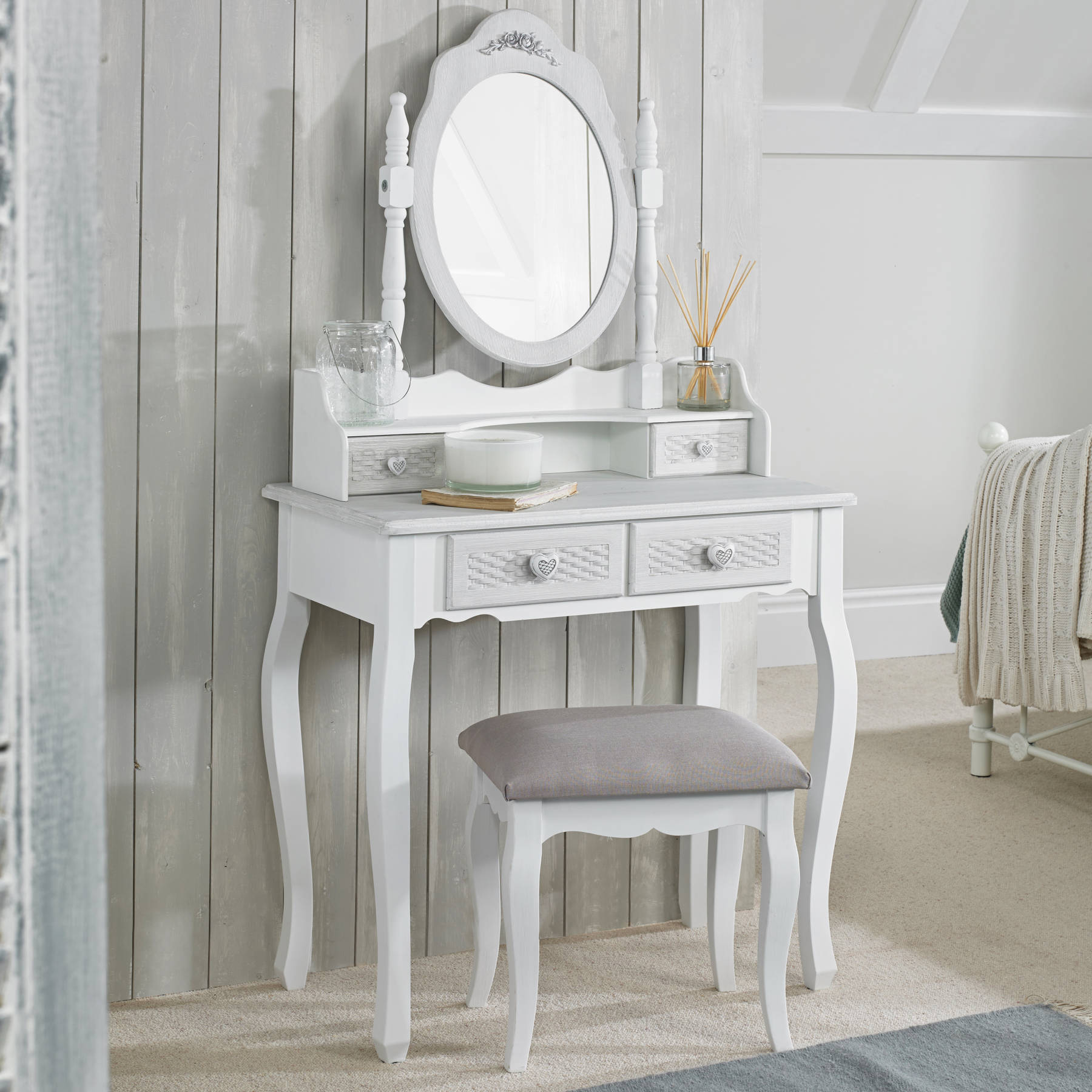 Lorient Dressing Table with Table Mirror and Stool