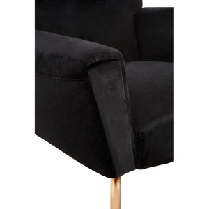 Novara Black Velvet and Rose Gold Wingback Chair