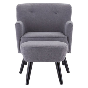 Odense Armchair With Footstool in Grey