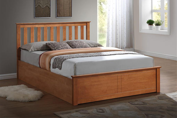 Tempa Double Ottoman Bed in Oak - Ezzo