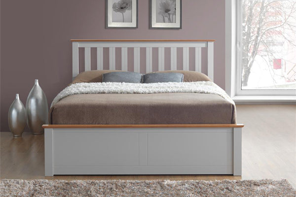Tempa King Size Ottoman Bed in Pearl Grey