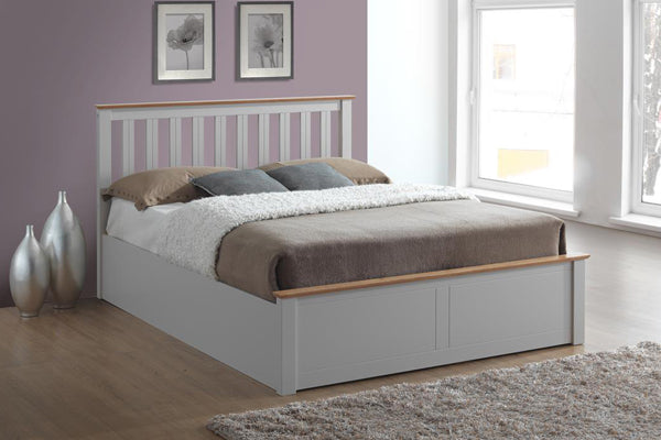 Tempa Queen Size Ottoman Bed in Pearl Grey - Ezzo