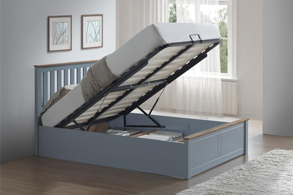 Tempa Queen Size Ottoman Bed in Stone Grey