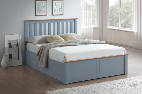 Tempa Double Ottoman Bed in Stone Grey