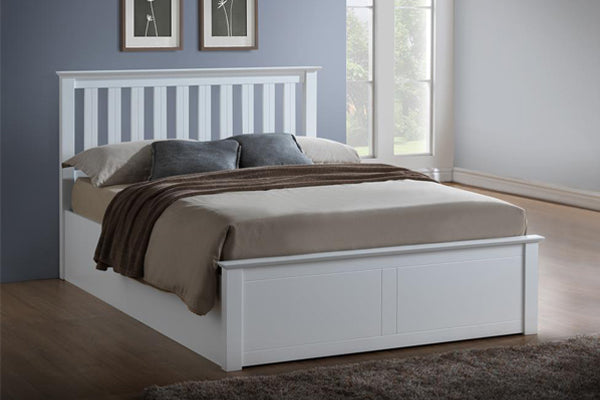 Tempa Queen Size Ottoman Bed in White