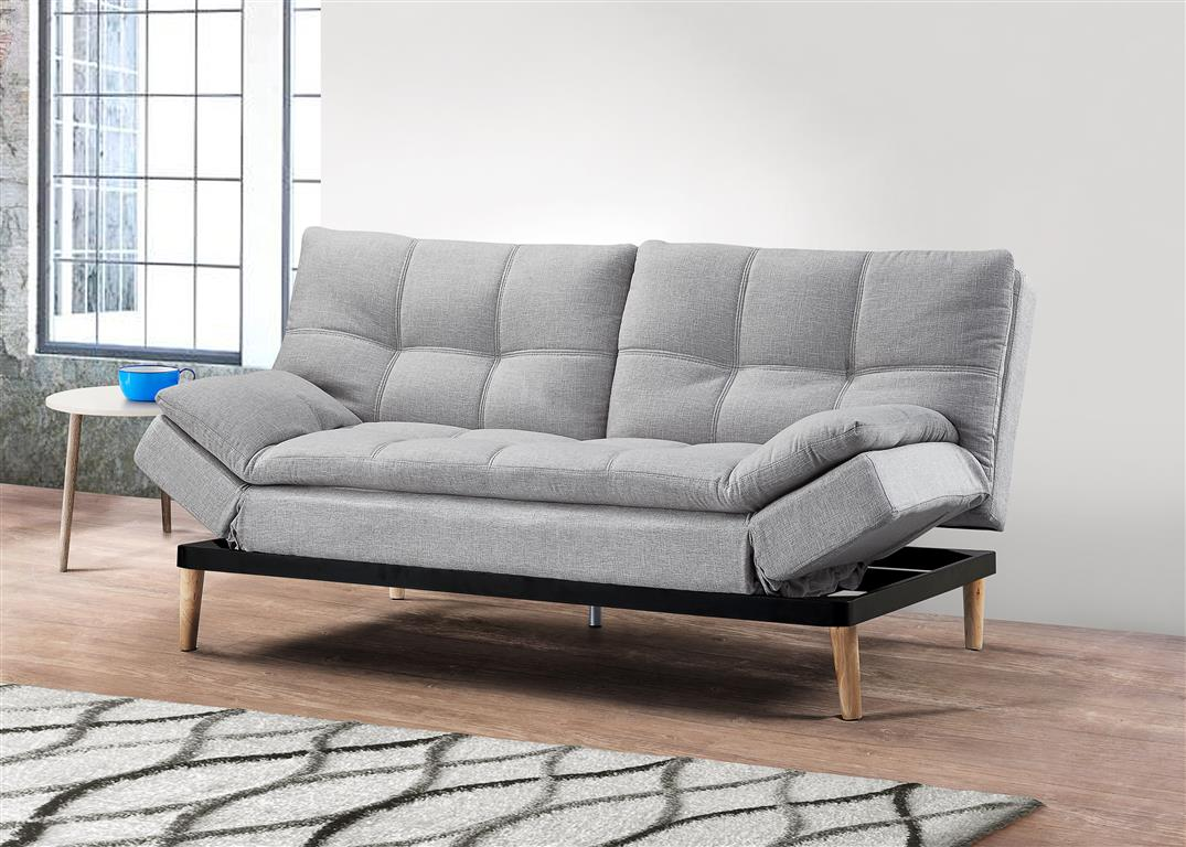 Plush Sofa Bed in Light Stone Grey - Ezzo