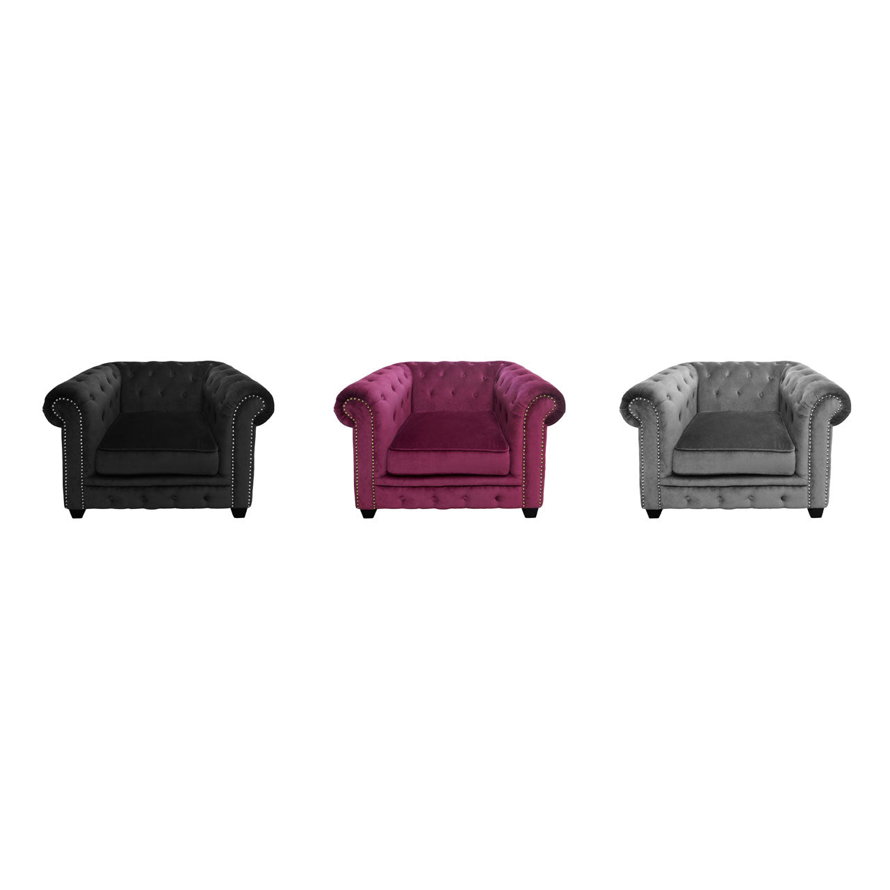 Regents Park Chesterfield Chair in Damson