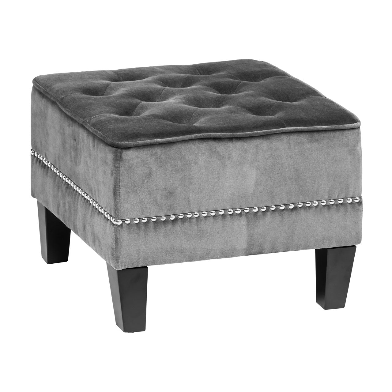 Regents Park Chesterfield Footstool in Grey