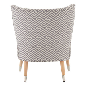 Regents Park Wingback Chair in Beige and Grey