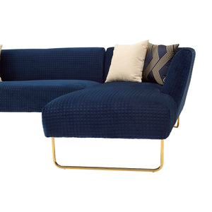 Renee Dark Blue Velvet 5 Seat Corner Sofa