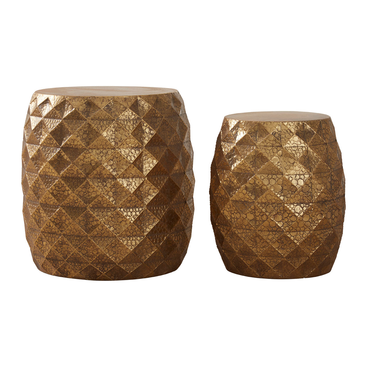 Reza Multi-Faceted Drum Stools in Gold