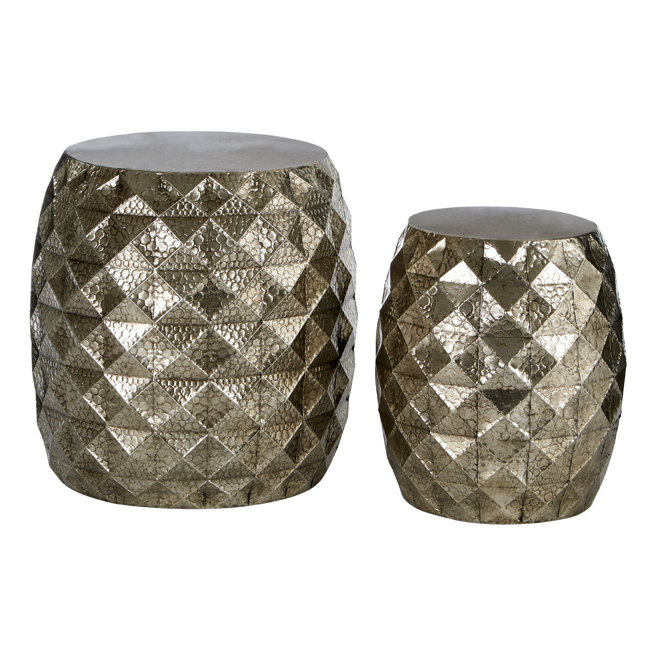 Reza Multi-Faceted Drum Stools in Silver