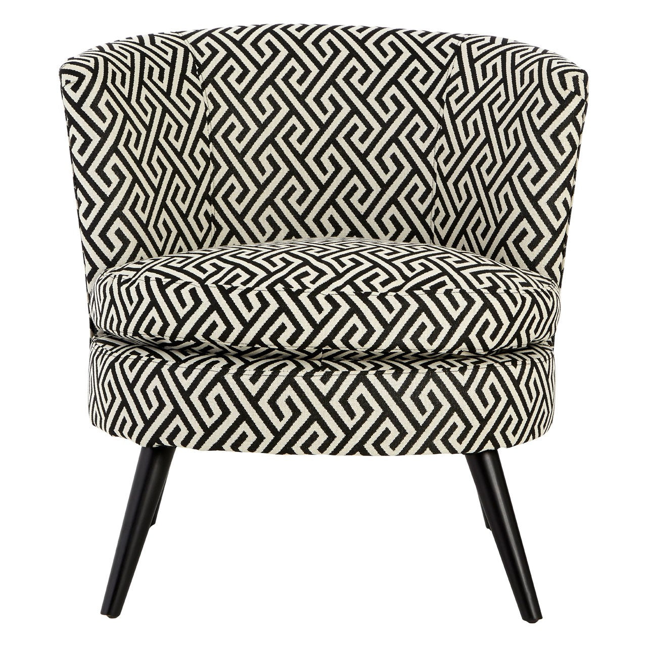 Round Black And White Jacquard Armchair