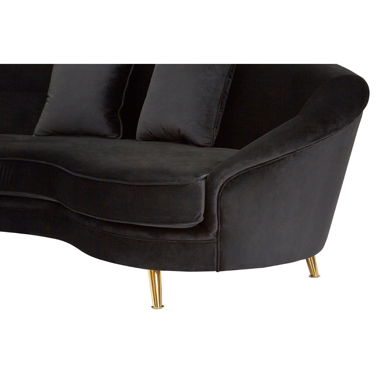 Ruby Black Velvet 5 Seat Curved Sofa