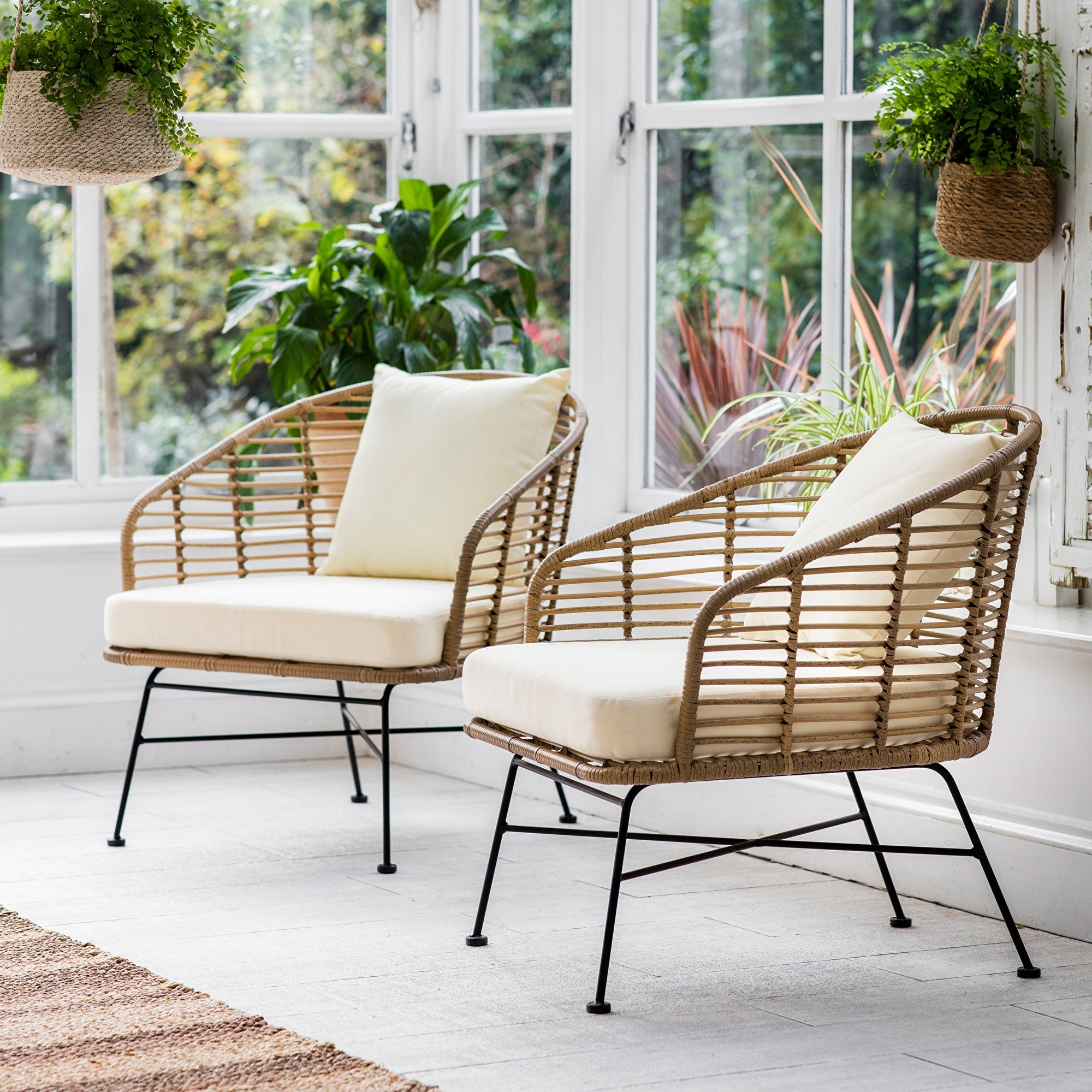 Set of 2 Keats Bamboo Armchairs - Ezzo