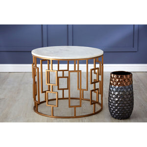 Shalimar Round Side Table Geometric Gold