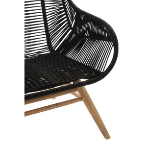 Sisal Black Rope and Wood Lounge Chair