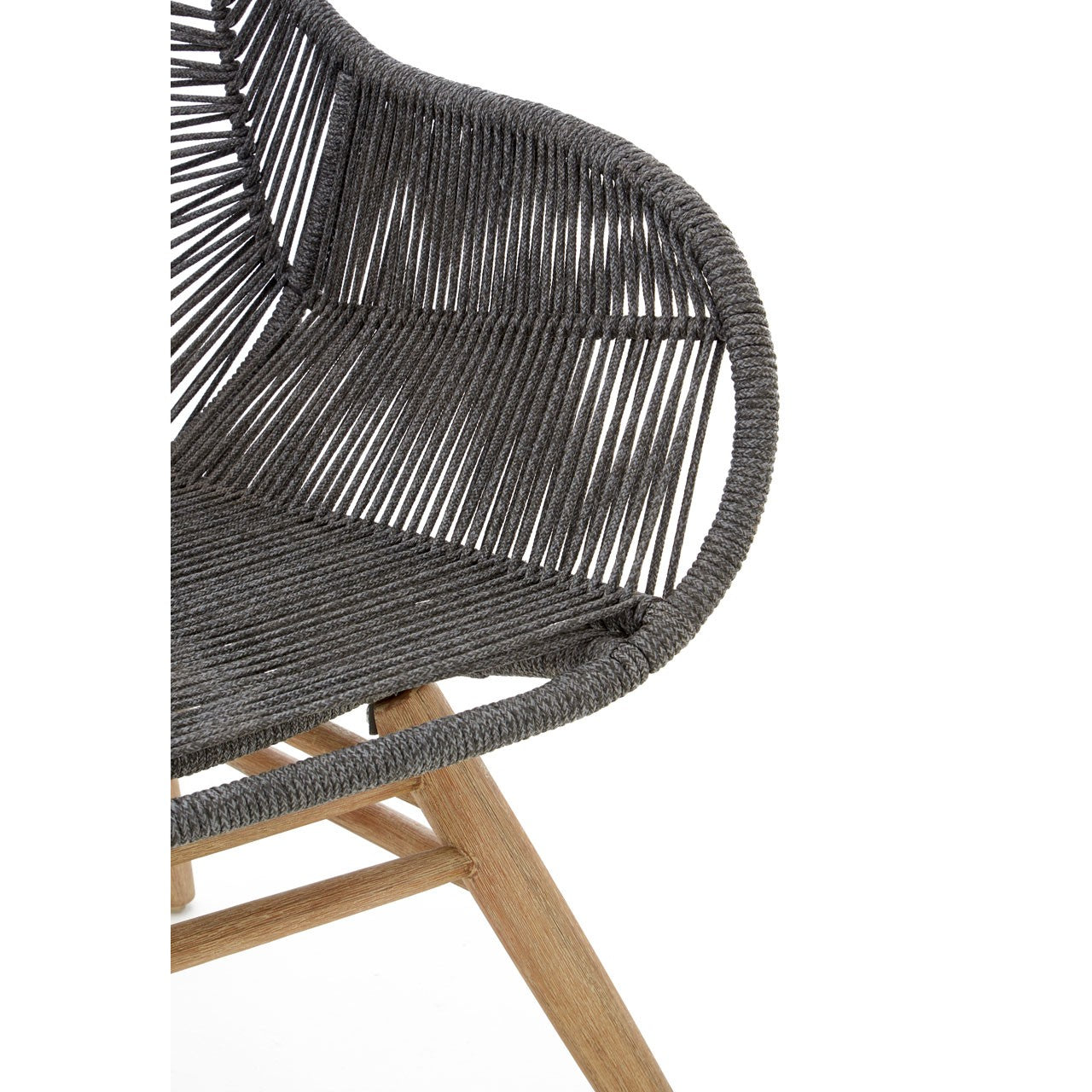 Sisal Grey Rope and Wood Lounge Chair