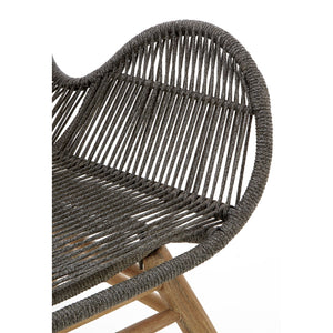 Sisal Grey Rope and Wood Lounge Chair With Footstool