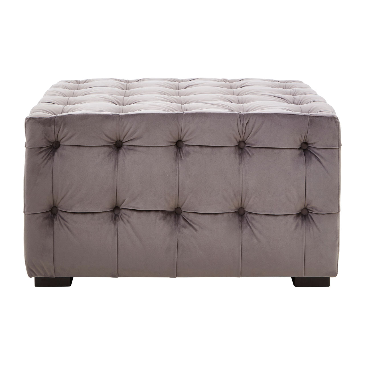 Stella Button Tufted Footstool Grey