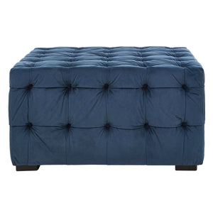 Stella Button Tufted Footstool Blue