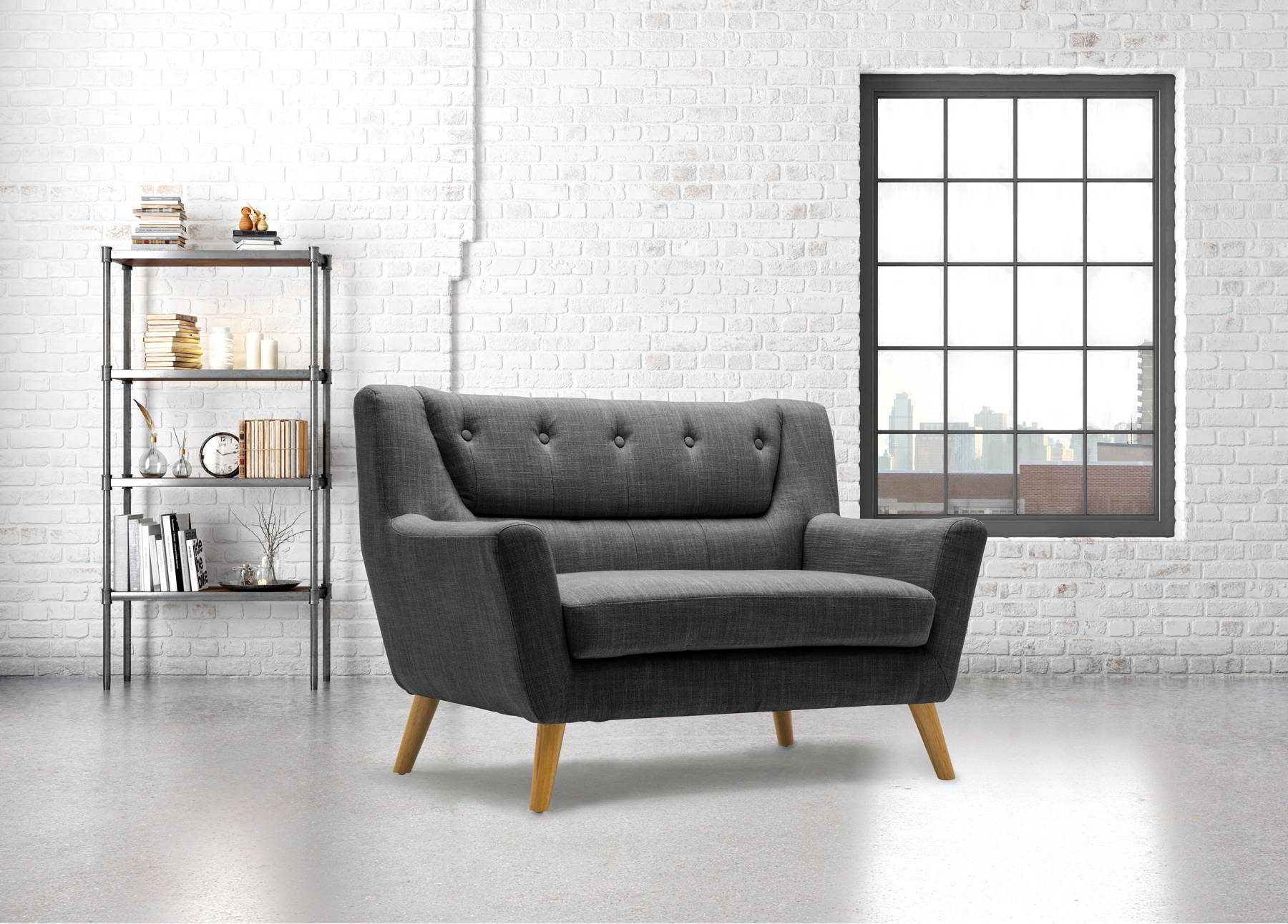 Stockwell 2 Seater Sofa in Grey - Ezzo