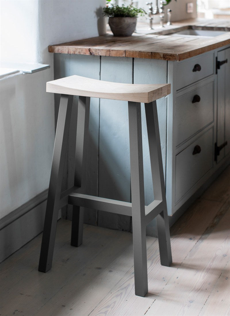 Tall Tower Stool in Charcoal and Oak - Ezzo