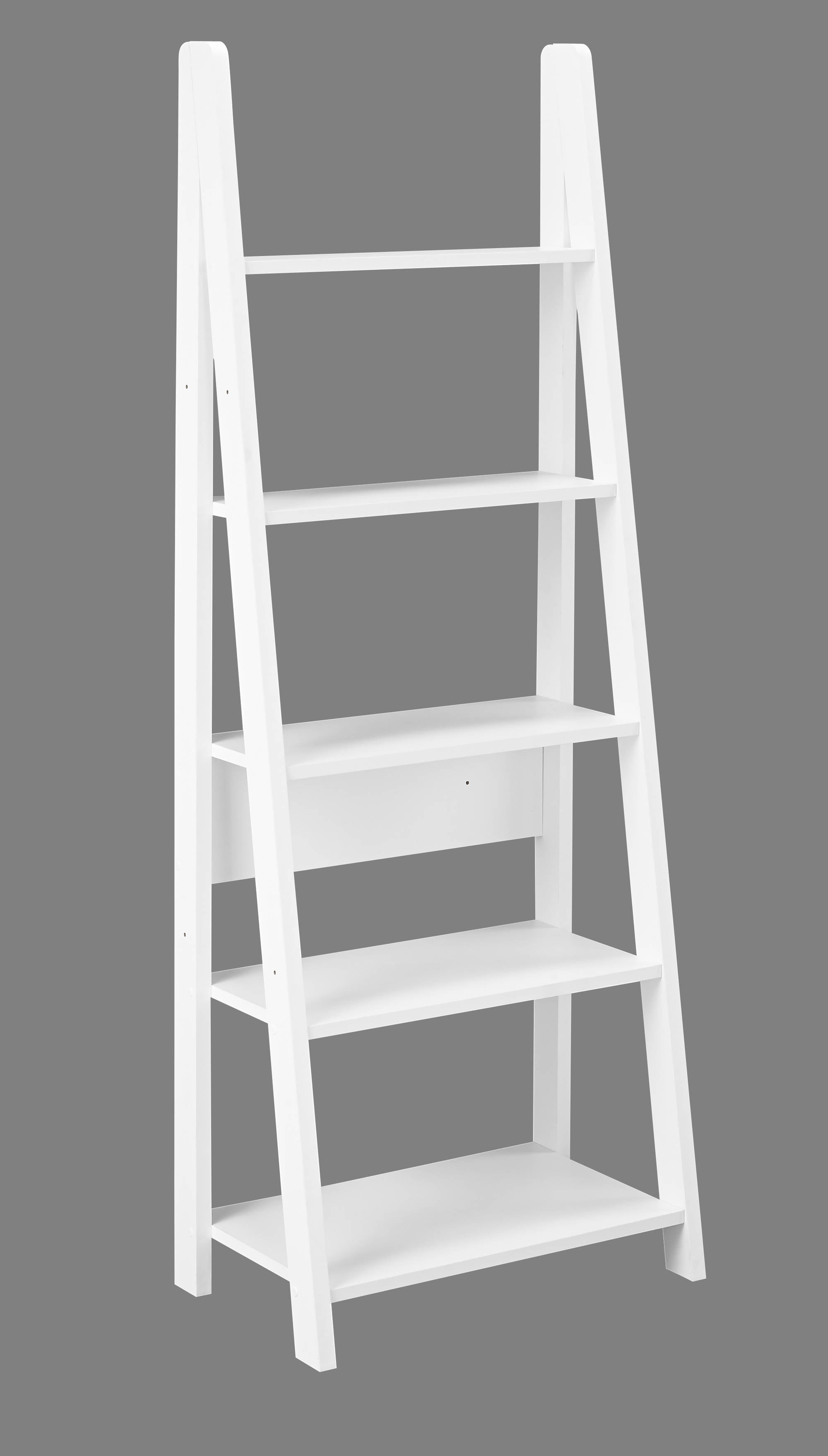 Turan Ladder Bookcase in White - Ezzo