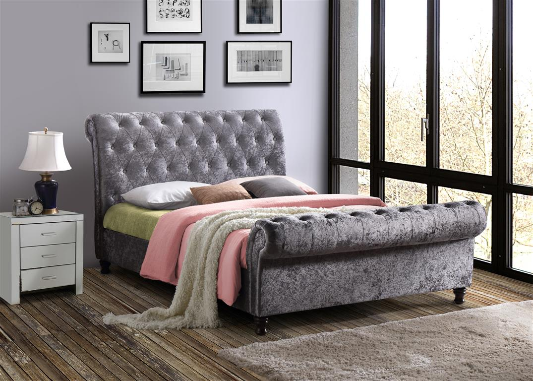 Venice King Size Bed in Steel Velvet - Ezzo