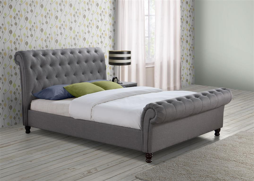 Venice King Size Bed in Grey - Ezzo