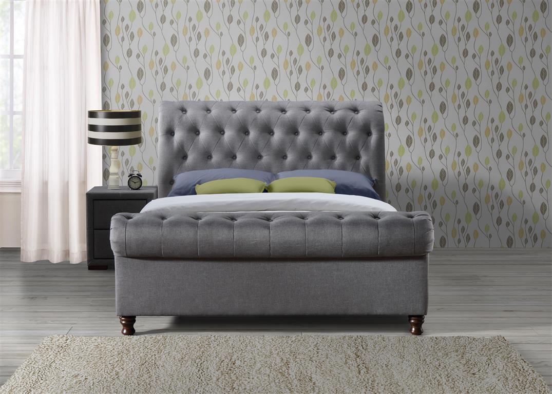 Venice Super King Size Bed in Grey - Ezzo