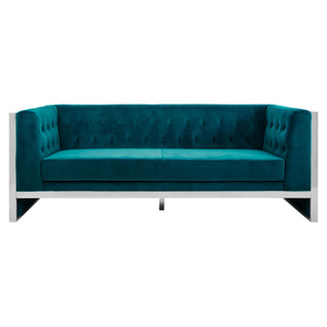 Vogue 3 Seat Teal Velvet Sofa