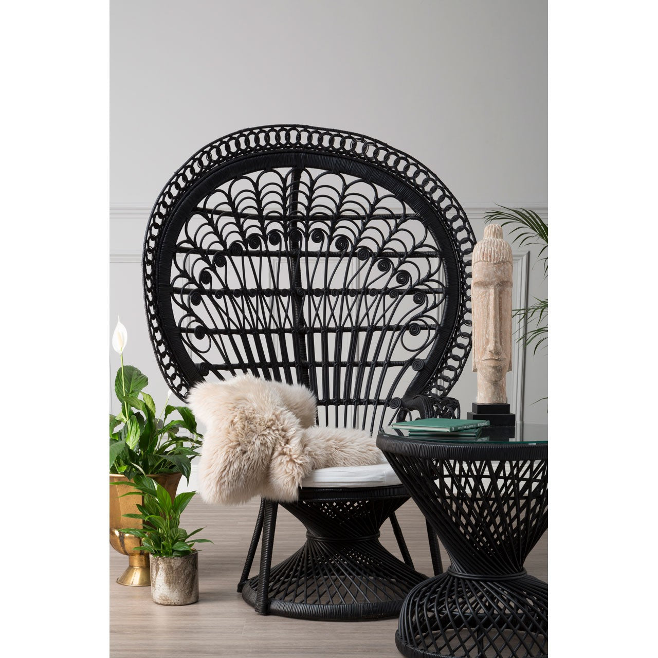 Woodstock Peacock Rattan Chair Black