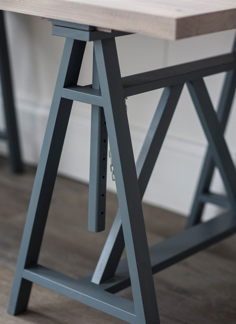 Workshop Trestle Desk in Charcoal - Ezzo