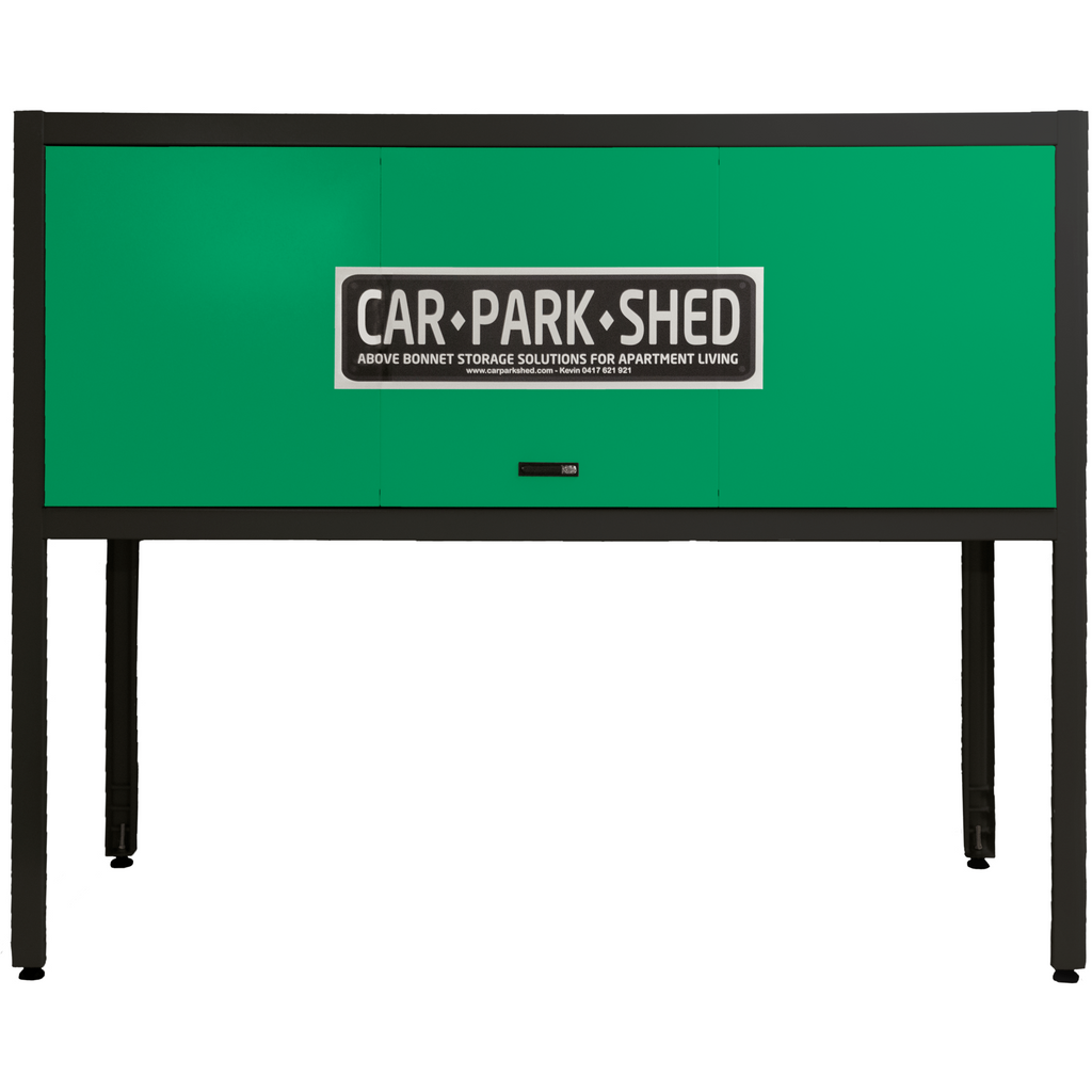 CAR PARK SHED - BLACK FRAME WITH YOUR COLOUR CHOICE OF FRONT DOOR PANEL