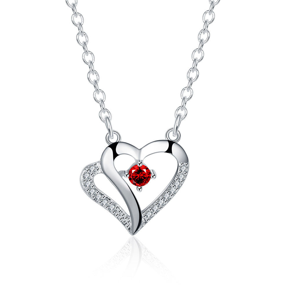 Silver plated chain red stone heart necklaces pendants men jewelry silver plated chain red stone heart necklaces pendants men jewelry 4 3 magicalplace mozeypictures Images