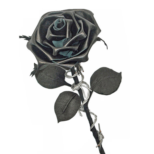 "Black ""Barbed wire"" leather rose"