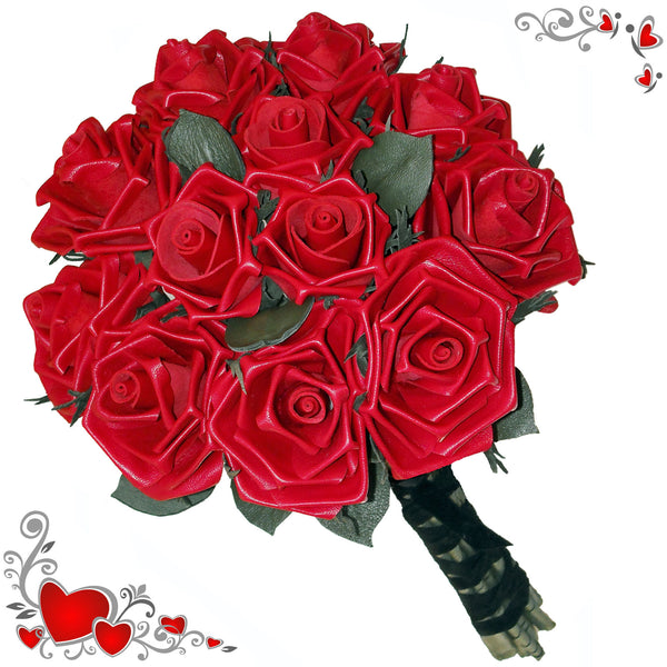 Eternal Romance bouquet of 12 red leather roses