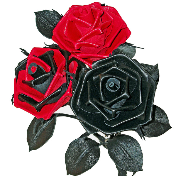 The Fetish Trio of leather roses