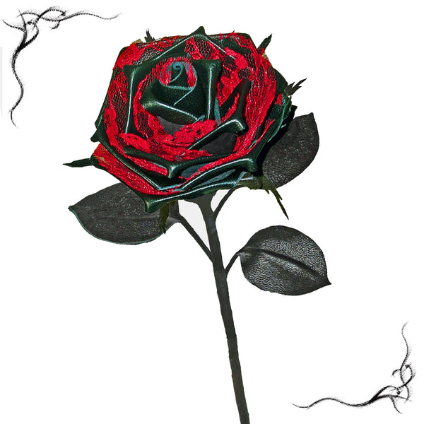 Long stem black leather rose with red lace