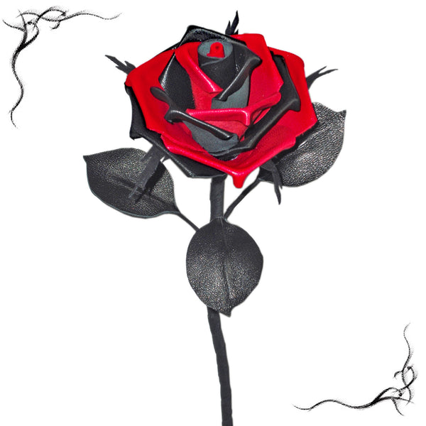 black & red leather rose